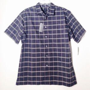 Van Heusen Gray Plaid Short Sleeve Men's Shirt L